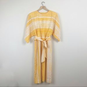 Vintage 70s Yellow Bell Sleeve Belted Dress 16